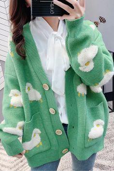 Cardigan En Maille, Knit Cardigan, Loose Knit Sweaters, Sweater Coats, Cardigans For Women, Jackets For Women, Cute Cardigans, Cool Outfits, Casual Outfits
