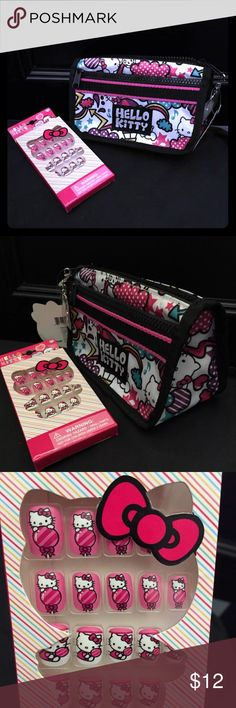 Hello Kitty bag & nails brand new. Makeup bag Brand new hello Kitty bag or make up bag. And nails for your little girl Sanrio Bags Cosmetic Bags & Cases