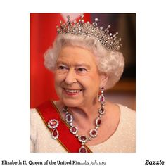 Elizabeth II, Queen of the United Kingdom Postcard   Zazzle.com Royal Tiaras, Tiaras And Crowns, Royal Crowns, Pippa Middleton, Kate Middleton Jewelry, Queen Elizabeth Jewels, Royal Hairstyles, Eugenie Of York, Royal Queen