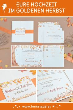 They marry in autumn and look for suitable invitation cards for your wedding. Invitation Cards, Invitations, Save The Date Karten, Wedding Rings, Autumn Cards, Orange, Designs, Map Invitation, Thanks Card