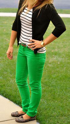 neon green pants. leopard flats. striped black & white tee. black sweater.