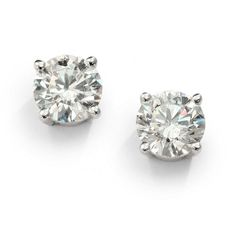 Saks Fifth Avenue 1 TCW Brilliant Diamond & 18K White Gold Stud... ($3,779) ❤ liked on Polyvore featuring jewelry, earrings, accessories, brincos, white gold, post earrings, stud earrings, diamond jewelry, diamond stud earrings and white gold diamond jewelry
