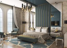 40 Transitional Bedrooms That Beautifully Bridge Modern And Traditional Explore a diverse selection of transitional bedroom ideas to see how classic and contemporary decor can come together in one streamlined up-to-date style. Luxury Bedroom Design, Master Bedroom Interior, Bedroom Bed Design, Bedroom Green, Luxury Home Decor, Luxury Homes, Interior Design, Modern Luxury Bedroom, Marble Bedroom