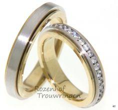 Diamanten, trouwringen-Ranke trouwringen in twee kleuren met diamanten rivier
