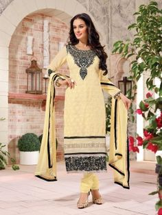 Cream Georgette Suit With Zari And Resham Embroidery Work www.saree.com