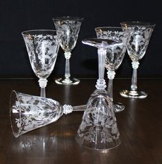 Beautiful, Set of 6, Vintage Fostoria Shirley, Etched Water Goblets, Tall Stemmed Glasses