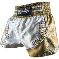 Hayabusa Sacred Muay Thai Shorts - Silver/Gold _ belles finitions, label plus étroit