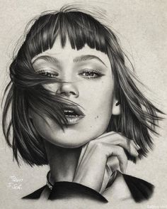 Click the image, for more art by Sabine S # realistic drawings Charcoal Portrait Drawings. Pencil Drawings Of Flowers, Realistic Pencil Drawings, Pencil Art Drawings, Art Drawings Sketches, Realistic Sketch, Face Drawings, Easy People Drawings, Sketches Of People, Drawing People