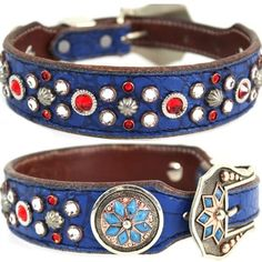 A blue Western leather dog collar with red and clear Swarovski crystals. For medium to large dogs.