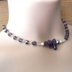 Gemstone Necklace Choker Beaded Purple Amethyst by chichigemmes