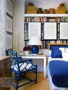 The bedroom is not typically known as the most intuitive place to store massive book collections