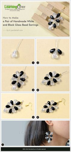 How to Make a Pair of Handmade White and Black Glass Bead Earrings from LC.Pandahall.com