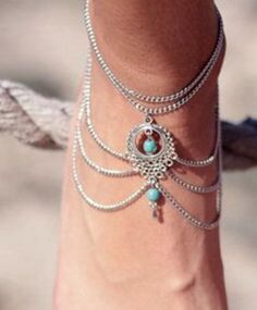 1Pc National Style Ankle Bracelet Hollow-out Turquoise Water Drop Anklet Bracelet # 21263