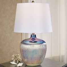 Bellamy Opalescent Ceramic Table Lamp Modern Table, The Chic, Home Collections, Brushed Nickel, Iridescent, Barrel, Modern Design, Lavender, Table Lamp