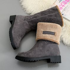 Two Way Wearing Suede Slip On Warm Boots