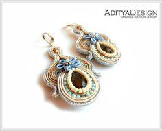 Soutache Earrings Blue Beige Handmade Jewelry by AdityaDesign
