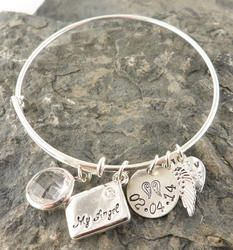 Letter to My Angel Personalized Hand Stamped Adjustable Wire Bangle Bracelet