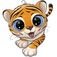 Tiger Cartoon Drawing, Cartoon Kunst, Cartoon Drawings, Cute Owl Cartoon, Cartoon Pics, Cartoon Art, Cute Animal Drawings, Cute Drawings, Cute Tigers