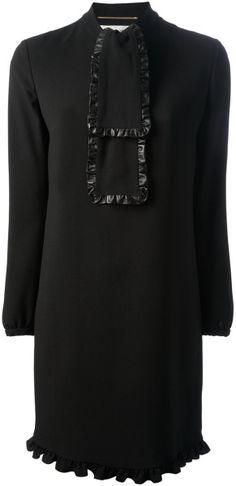 Saint Laurent Bow Detail Blouse Dress - Lyst