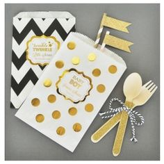 Personalized Metallic Foil Chevron & Dots Baby Goodie Bags (set of 12)