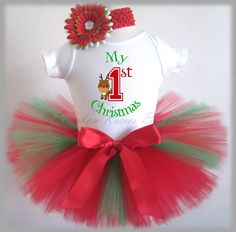 Baby's First Christmas, 1st Christmas Outfit, My first Christmas Outfit on Etsy, $38.00