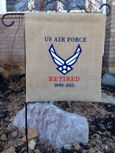 Air Force Logo Applique Retirement Burlap Garden Flag - Machine Embroidered - Military