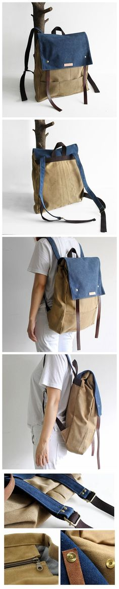 Handcrafted Waterproof Waxed Canvas Backpack School Backpack Canvas Rucksack Travel Backpack Laptop Backpack Casual Book Bags 14097 -------------------------------- - 16oz waxed canvas - Cotton lining