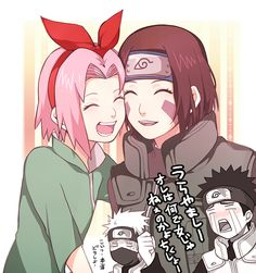 Rin and Sakura - Kakashi and Obito Anime Naruto, Naruto Kakashi, Comic Naruto, Naruto Fan Art, Naruto Cute, Naruto Funny, Naruto Shippuden Anime, Naruto Girls, Anime Manga