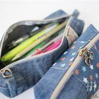 Cartuchera con jeans reciclados