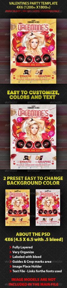BEST FOR YOUR VALENTINES PARTY. CAN ALSO BE USED IN ANY CLUBS , PARTY AND OTHER EVENTS . This flyer can also be used in Holiday Parties, Club Parties, Birthday Bash, etc. THE PSD FILE SET UP 4X6 (4.56.5 ( .25 bleed) 300 DPI CMYK Editable colors Editable text layers Very Organize Fully Layered With bleed With crop marks area With guidelines INCLUD