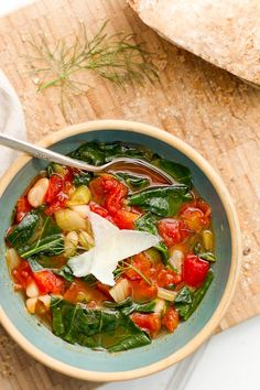 [ Recipe: Italian White Bean Soup ] Using fennel, collard greens (or other dark leafy greens such as kale, chard, or mustard greens), diced tomatoes, olive oil, hearty vegetable broth, water, cannellini beans, red pepper flakes, dried basil, smoked paprika, salt and pecorino cheese to garnish. ~ from ACoupleCooks.com