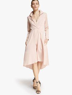 2017 Halston Heritage Cotton Shirtdress Long Cut Shirt Dress Lace