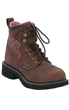 Justin® Ladies Gypsy™ Aged Bark 6in. Lace-Up Steel Toe Work Boot | Cavender's