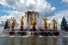 The people's friendship fountain in Moscow acts as a symbol of national unity in Russia. Description from protista.org. I searched for this on bing.com/images