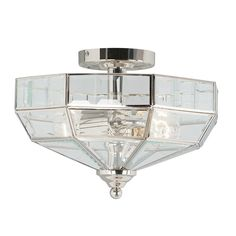 A hexagonal semi-flush ceiling lantern finished in polished nickel, with clear beveled edge glass panels. A classic flush lantern design, perfect for traditional homes. Low Ceiling Lighting, Semi Flush Lighting, Semi Flush Ceiling Lights, Direct Lighting, Wall Lights, Sloped Ceiling, Lighting Ideas, Classic House Design, Luxury Lighting