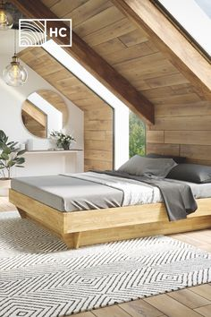Custom beds for your home - DIY Traumhaus Attic Design, Loft Design, Modern House Design, Attic Bedrooms, Loft Room, A Frame House, Loft Spaces, How To Make Bed, Beautiful Bedrooms