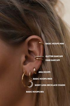 Ohrknorpel Piercing, Bijoux Piercing Septum, Tattoo Und Piercing, Triple Lobe Piercing, Double Ear Piercings, Cartilage Jewelry, Pretty Ear Piercings, Ear Peircings, Types Of Ear Piercings