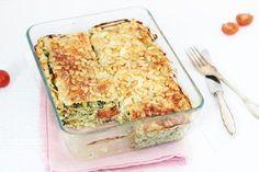 Zomerse lasagne met spinazie en pesto Met gegrilde courgette in plaats van lasagna bladeren