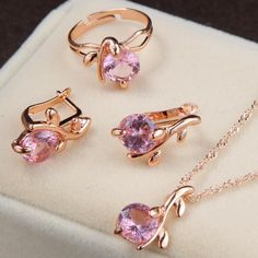 Charm Crystal Round Pendant Necklaces Earrings Sets