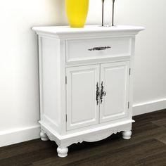 #bNEW White Wooden Floor Cabinet Cupboard Storage 2 Doors 1 Drawer Organizer Hom in Home, Furniture & DIY, Furniture, Cabinets & Cupboards | eBay