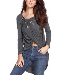 d62baa4f4a0 2016 Fashion Sexy Long Sleeve Lace Up V Neck Women Blouse Cross Front  Irregular Hem Loose Casual Long Tops Plus Size Blusas
