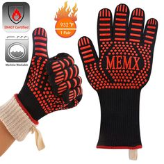 MEMX Oven Gloves, Barbecue Gloves Heat Resistant Grill Gloves, Extreme Kitchen Cooking Oven Mitts, Finger Flexibility Extra Large Long Cuff Certified Gloves Aramid & Silicone Non-Slip Oven Glove, Oven Cooking, Table Linens, Barbecue, Flexibility, Grilling, Finger, Gloves, Image Link