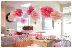 ideas baby shower ideas for girls pink pom poms Shower Party, Baby Shower Parties, Baby Shower Themes, Baby Shower Gifts, Bridal Shower, Shower Ideas, Baby Showers, Shower Favors, Shower Games