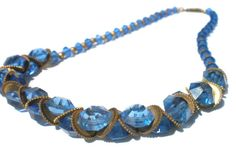 Vintage Czech Necklace with Ocean Blue Glass Beads by RibbonsEdge
