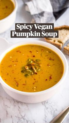 Healthy Soup Recipes, Vegan Dinner Recipes, Dairy Free Recipes, Vegetarian Recipes, Cooking Recipes, Vegan Pumpkin Soup, Vegan Soup, Pumpkin Recipes, Vegan Foods