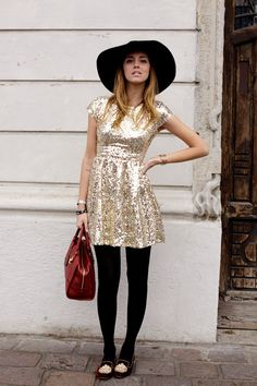 Party wear (Chiara Ferrani of The Blonde Salad)! The Blonde Salad, Passion For Fashion, Love Fashion, Fashion Outfits, Chic Outfits, Gold Sequin Dress, Black Tights, Autumn Winter Fashion, Dress Up