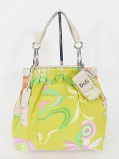 DOLCE & GABBANA D&G TASCHE BAG mit LEDER grün gelb - LUXUS PUR! /PO964 bei www.secondherzog.de