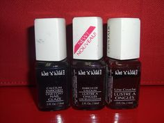 (2) Blackest Purple (3) Blackest Red Vintage Nails, Wet N Wild, Coffee Bottle, Luster, Nail Polish, Lipstick, Purple, Red, Lipsticks