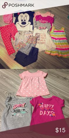 Adorable baby bundle Includes Minnie Mouse outfit, 4 shirts, 5 pairs of leggings, dress, and pink shorts. All 18 months, good condition Shirts & Tops