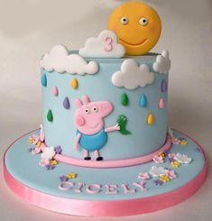 Peppa Pig boys birthday party - George Pig & his Dinosaur - Cake by CraftyMummysCakes (Tracy-Anne) Tortas Peppa Pig, Bolo Da Peppa Pig, Peppa Pig Birthday Cake, Birthday Cake Girls, Peppa Pig Cakes, Birthday Kids, Fondant Cakes, Cupcake Cakes, Pig Cupcakes